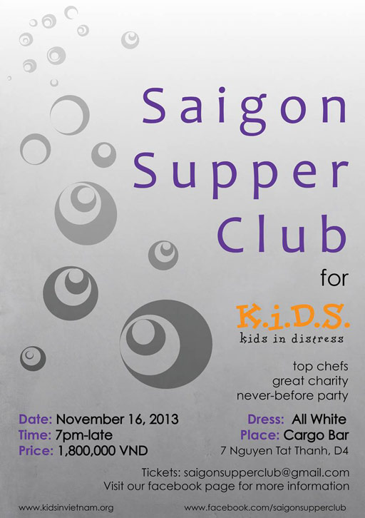 Saigon Supper Club poster charity for KIDS